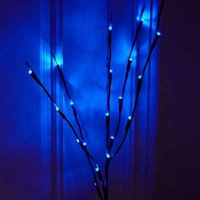 GFQHF LED Branch Lights, Battery Powered Brown Willow Twig Branches 20 LED Lights, for Christmas Home Garden Party Wedding Decoration (2, Blue)