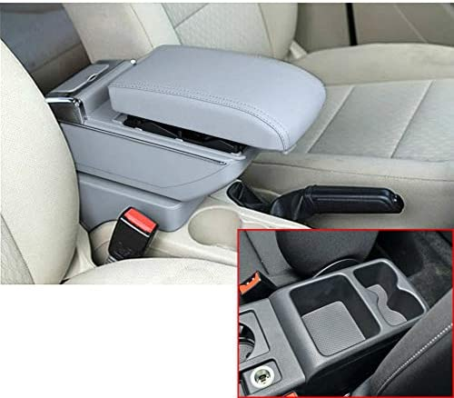 for Volkswagen Golf 7 2013-2017 Luxury Car Armrest Center Console Accessories The Cover Can Raised Oversized Space Built-in LED Light with Cup Holder Removable Ashtray Gray