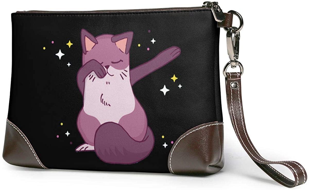 Cat Dabbing Leather Clutch Fashion Handbag Phone Wristlet Purse