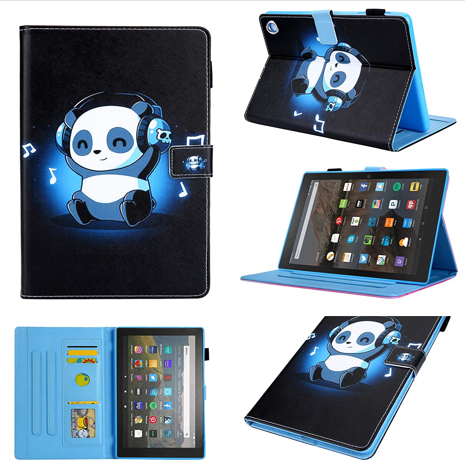 for DHgate Fire HD 8 Plus 2020/Fire HD 8 2020 (10th Generation) Case, Chgdss Cartoon Cute Case, [Auto Wake/Sleep ] Multi-Angle Viewing/Card Slots,Flip Leather Case with Stand Feature, Music Panda