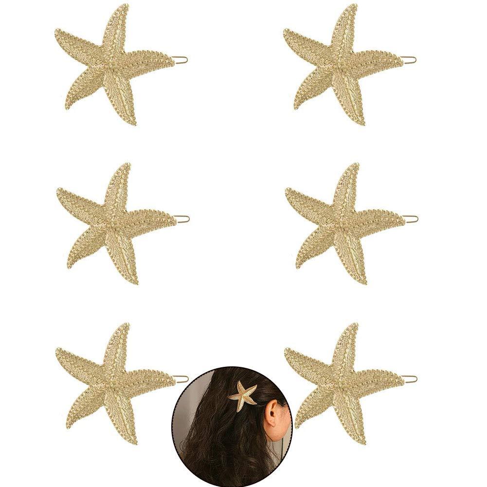 FAFAHOUSE 6 PACK Starfish Hair Clip, Sea Star Hairpin Beach Hair Pins for Women Hair Accessories