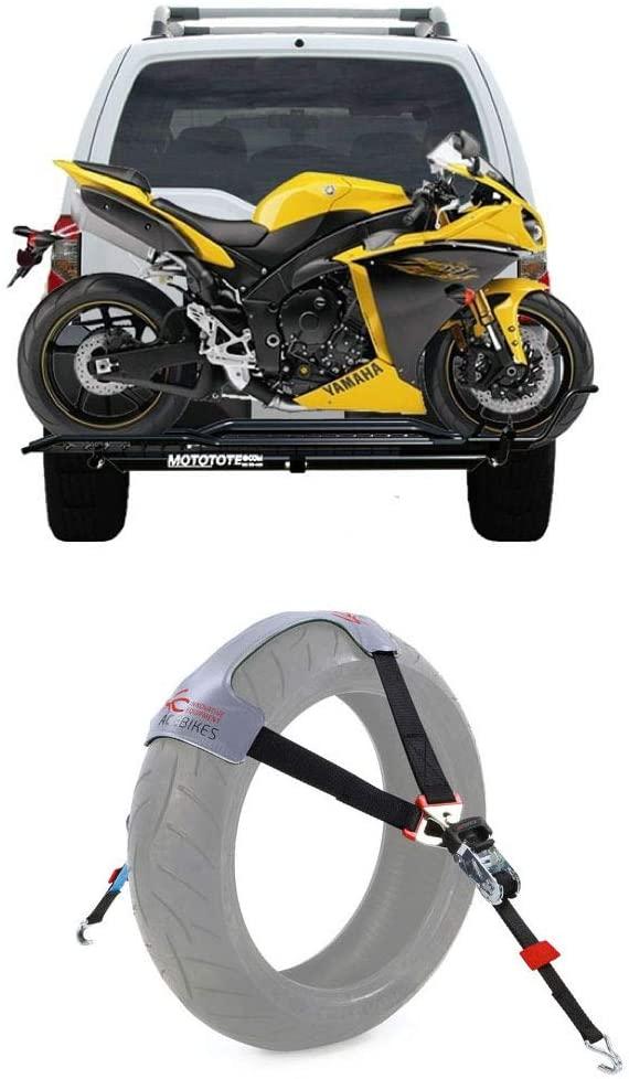 MotoTote Sport Bike Carrier Hitch Hauler Rack Ramp + TyreFix Motorcycle Tie-Down