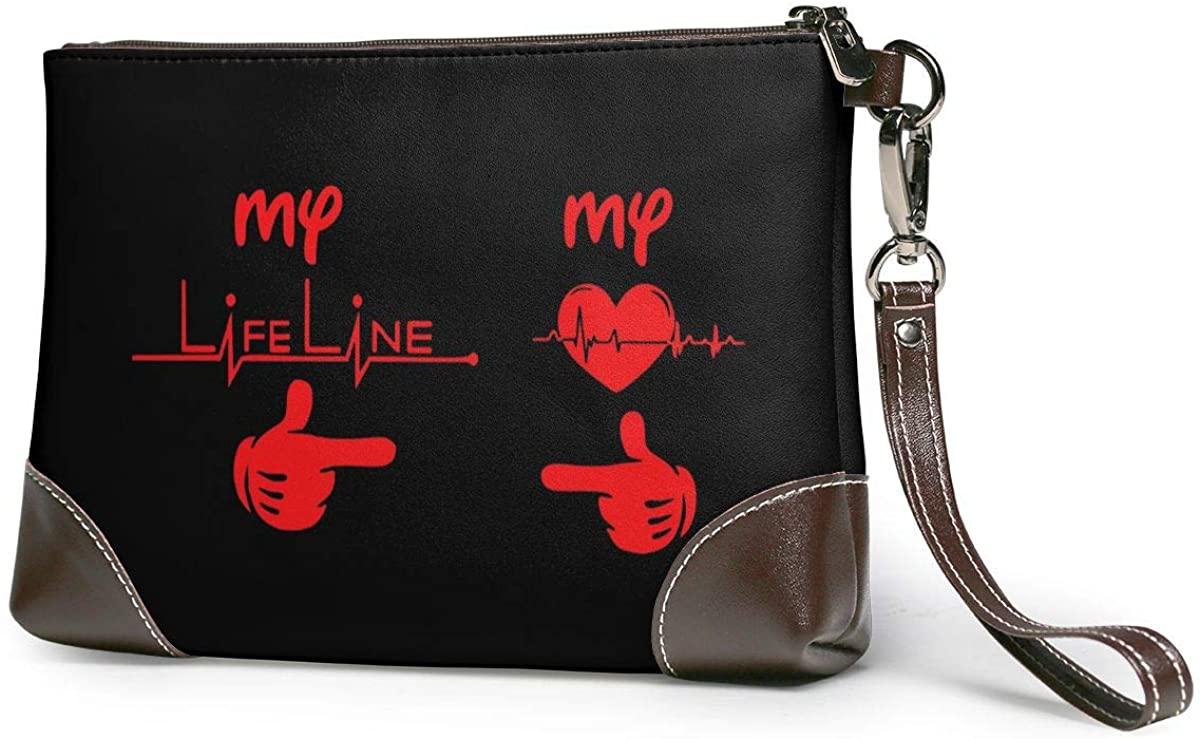 Heartbeat & Lifeline Couple Leather Clutch Fashion Handbag Phone Wristlet Purse