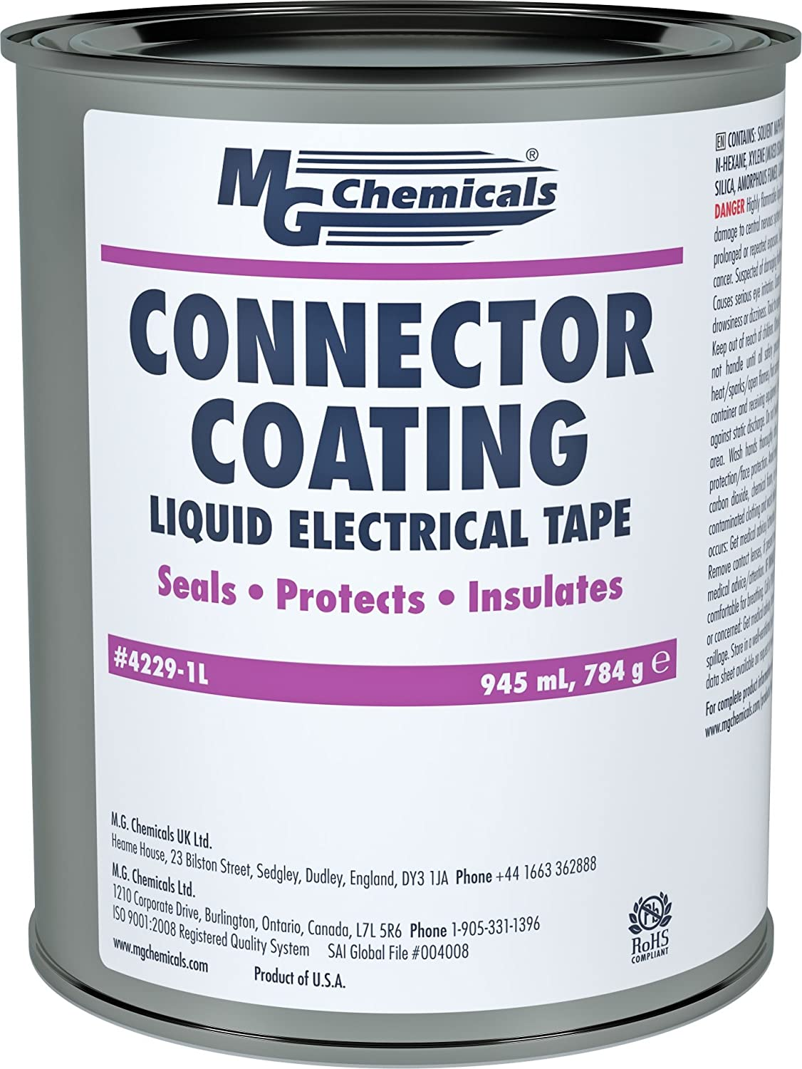 MG Chemicals Connector Coating, 1 Quart Can, Black