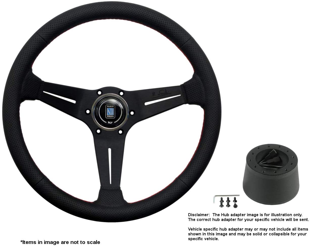 Nardi Deep Corn 350mm (13.78 Inches) Leather Steering Wheel w/Black Spokes and Hub Adapter for Fiat 124 Part # 6069.35.2093 + .1407