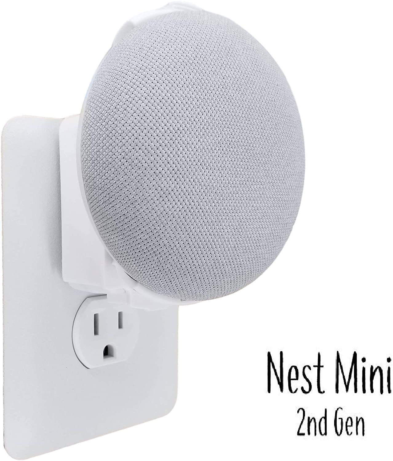 The Nest Mini Backpack 2nd Gen 2019: The Simplest and Cleanest Outlet Wall Mount Hanger Stand for New Google Nest Mini - No Cord Wrapping Required - Designed in USA (White)