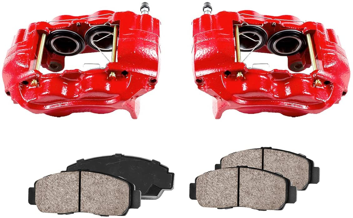 Callahan CCK11905 [2] FRONT Performance Loaded Powder Coated Red Caliper Assembly + Quiet Low Dust Ceramic Brake Pads