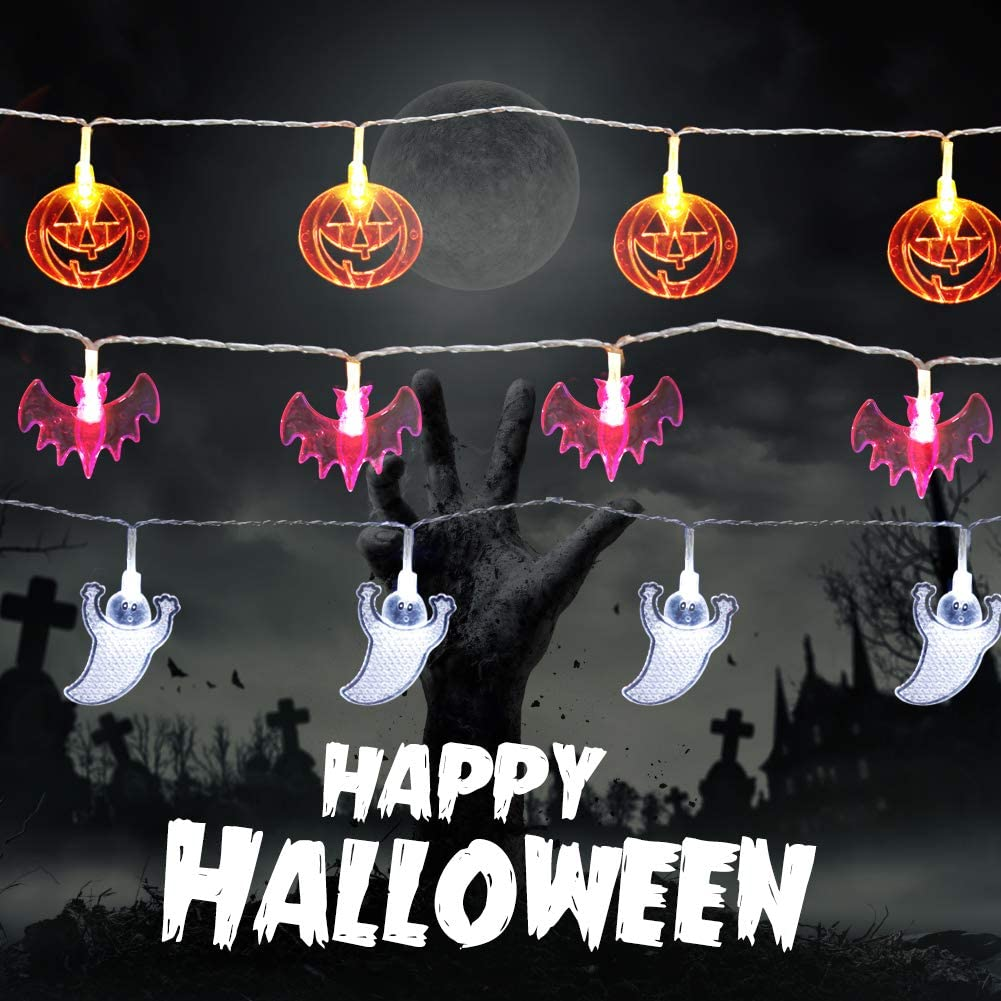AODINI Halloween Lights, Halloween Decorations 3 Pack - Purple Bat, White Ghost, Orange Pumpkin, Indoor/Outdoor String Lights Battery Operated (20 LEDs per String, 9.8 ft)