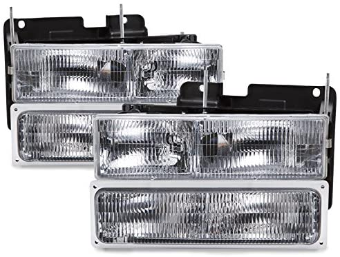 HEADLIGHTSDEPOT Chrome Housing Halogen Headlights Compatible with Chevrolet GMC Blazer Silverado C/K 1500 2500 3500 Suburban HD Chevy Pickup JIMMY/YUKON 150 Includes Left and Right Side Headlamps