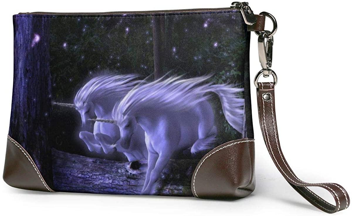 Unicorn Dash Leather Wristlet Clutch Wallet Smartphone Zipper Clutch Purse Leather Passport Wallet Handbag