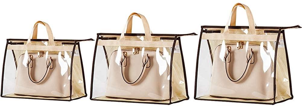 OLizee Stylish Handbags Closet Space-saving Storage Bag Organizer Purse Holder PVC Dustproof Bag with Zipper and Handle