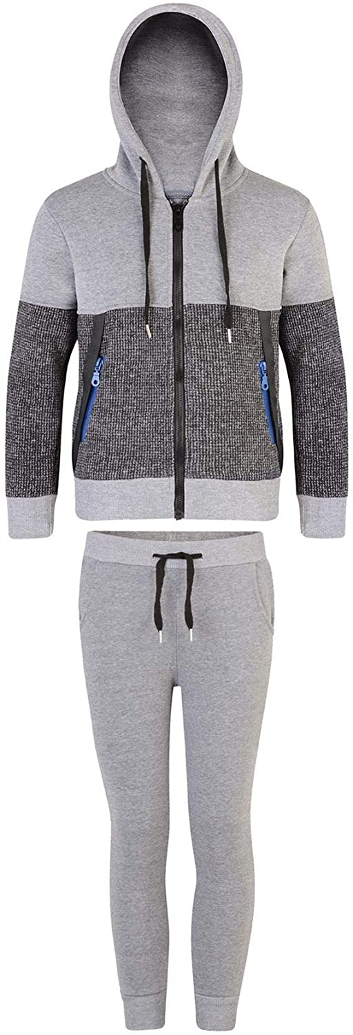LOTMART Kids Contrast Inserts Zips Tracksuit 2 Pieces Outfit in Grey Marl 5-6 Years