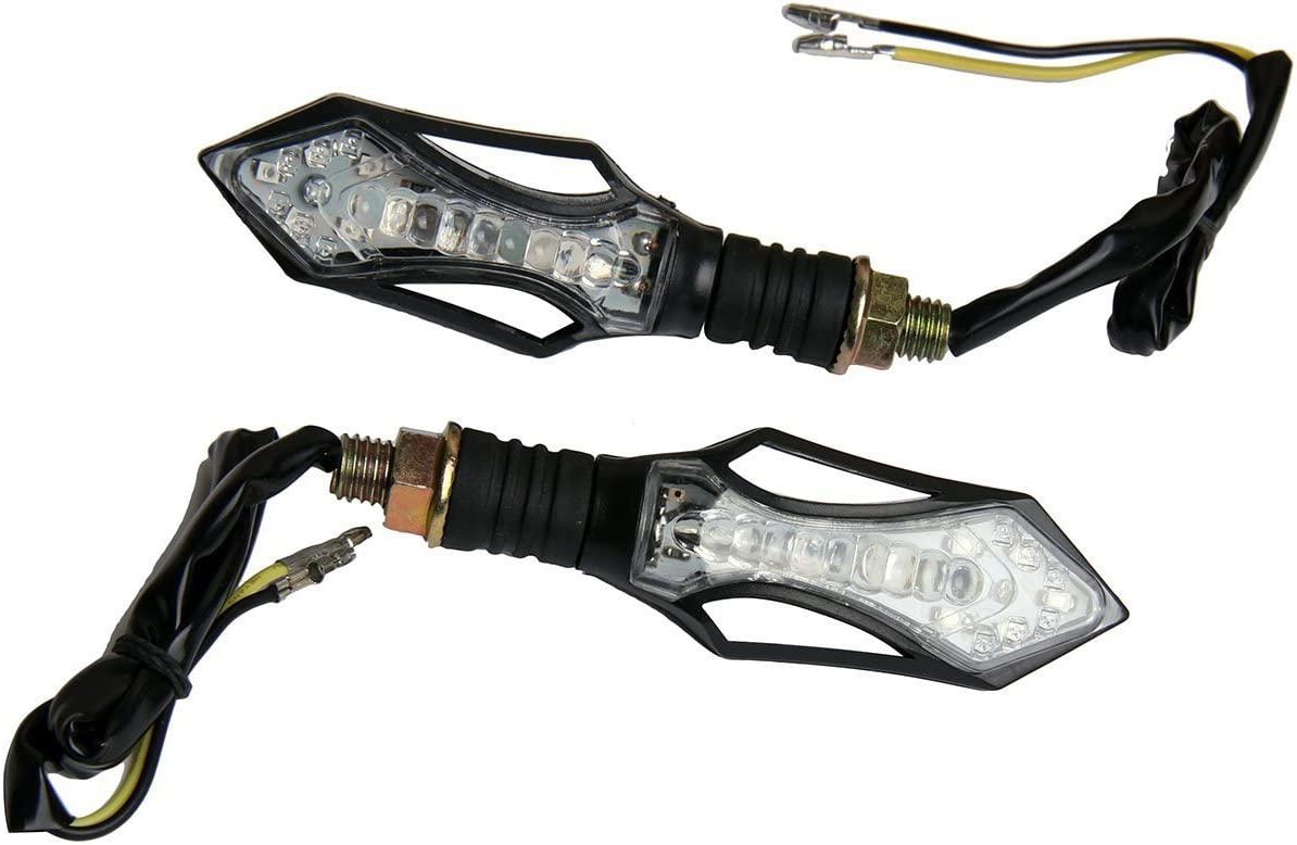 MotorToGo Clear Lens Black Arrow LED Turn Signals Lights Blinkers for 2002 Kawasaki Ninja ZX12R ZX1200B
