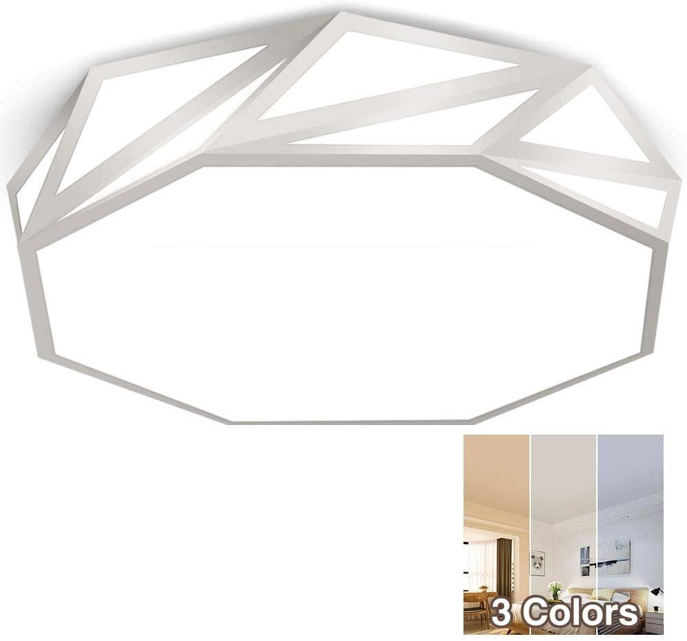 Neporal Flush- Mount-Ceiling-Light-LED 16 Inch 30W (150W Equivalent) 3 Colors Adjustable for Bedroom Study Living Room Kitchen Office