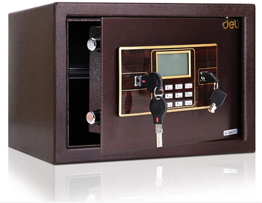 LIFEIYAN Safe Box, 25cm Home Electronic Safe With Code & Emergency Override Keys, Wall Or Floor Mounted Cabinet Safe For Jewelry Money For Home Office Hotel, 25×35×30 Cm Wine Red smart home safe