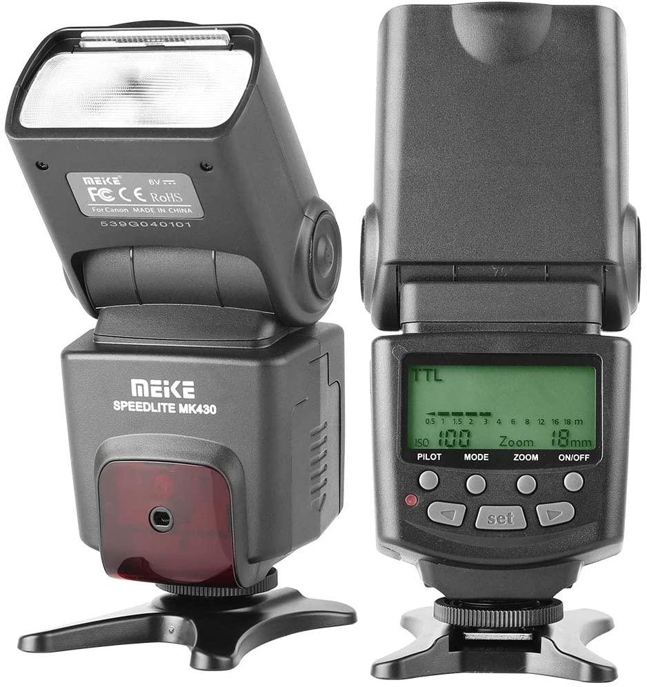 Meike MK430 E-TTL LCD Display Speedlite Shoe Mount Flash for Canon EOS 70D 77D 80D Rebel T7i T6i T6s T6 T5i T5 T4i T3i SL2 EOS R and Other EOS Digital DSLR Camera with Standard Hot Shoe Stand