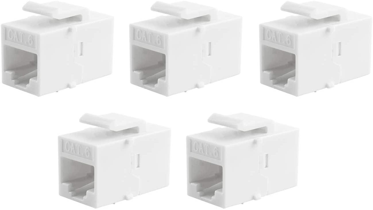 RuiLing 5pcs RJ45 CAT6 Keystone Inline Jack Coupler for Wall Plate Outlet Panel,UTP Insert Coupler Adapter Socket Connector Port (White)