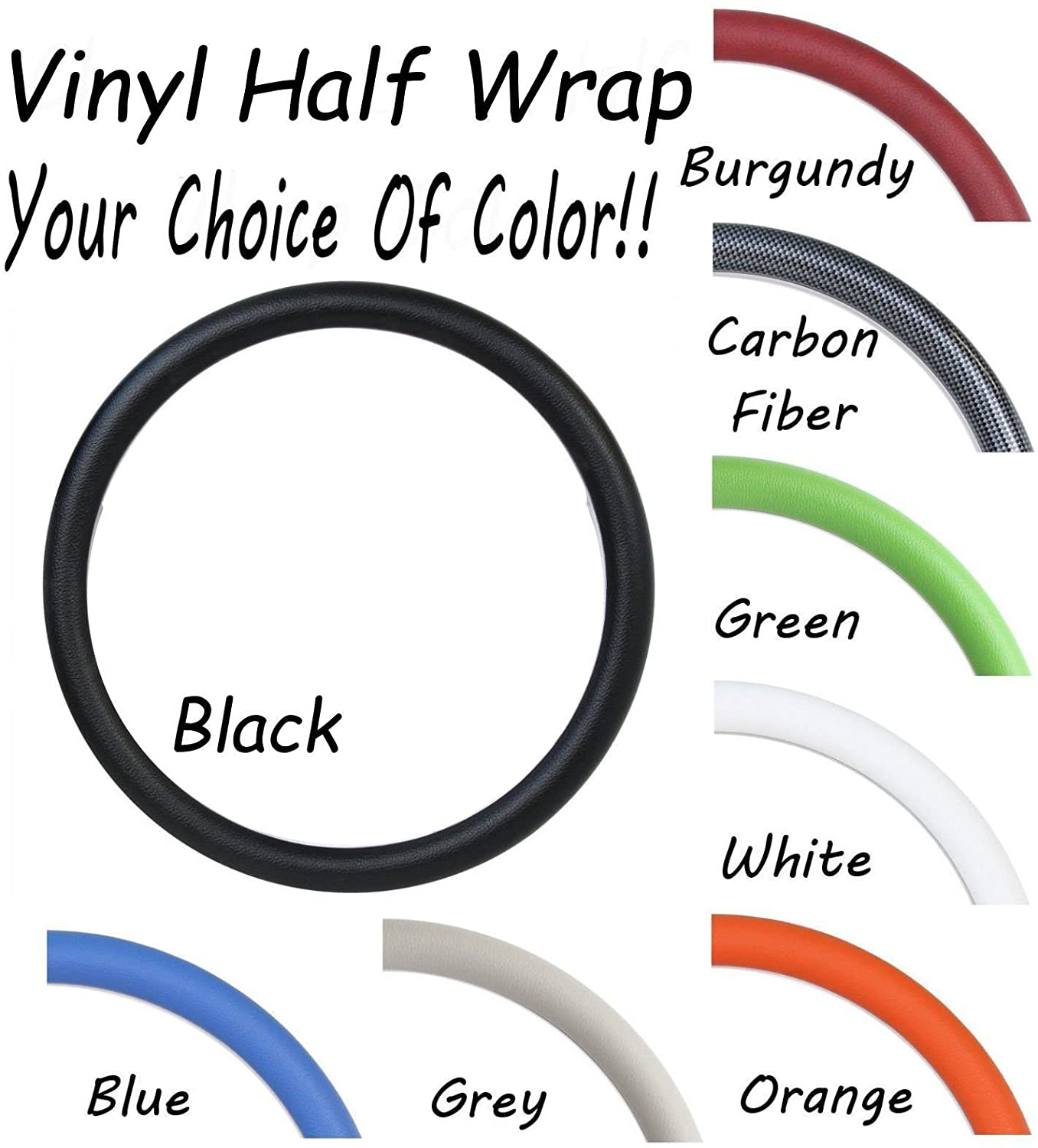 New World Motoring Replacement Vinyl Steering Wheel Half Wrap - Any Color - Forever Sharp Wheels