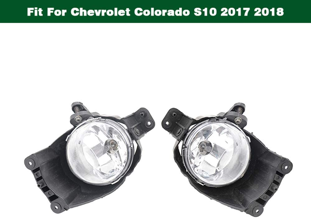 Clear Lens Bumper Driving Fog Lights Lamp Pair Left & Right Generic fit for Chevrolet Colorado S10 2017 2018