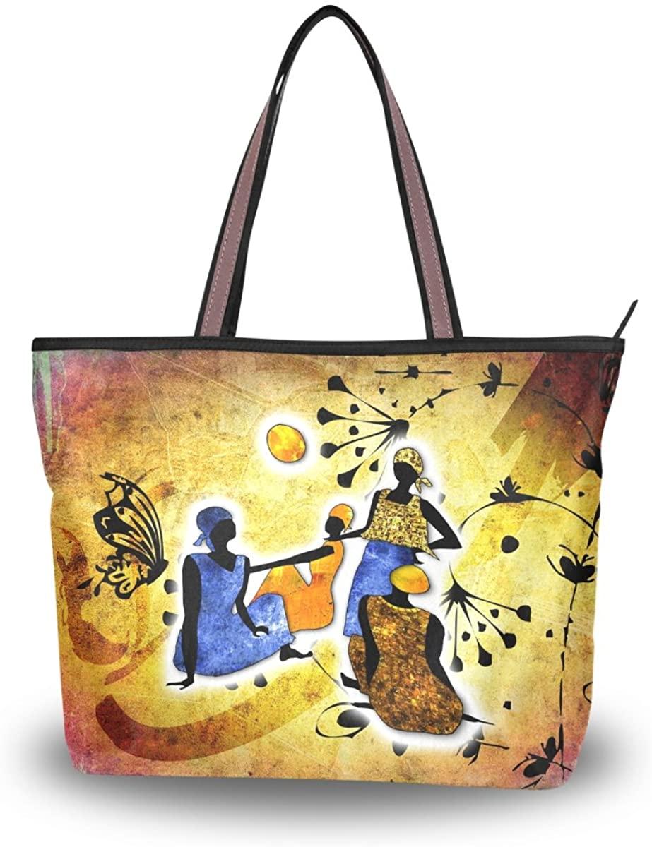 JSTEL Women Large Tote Top Handle Shoulder Bags Vintagte African Woman Patern Ladies Handbag