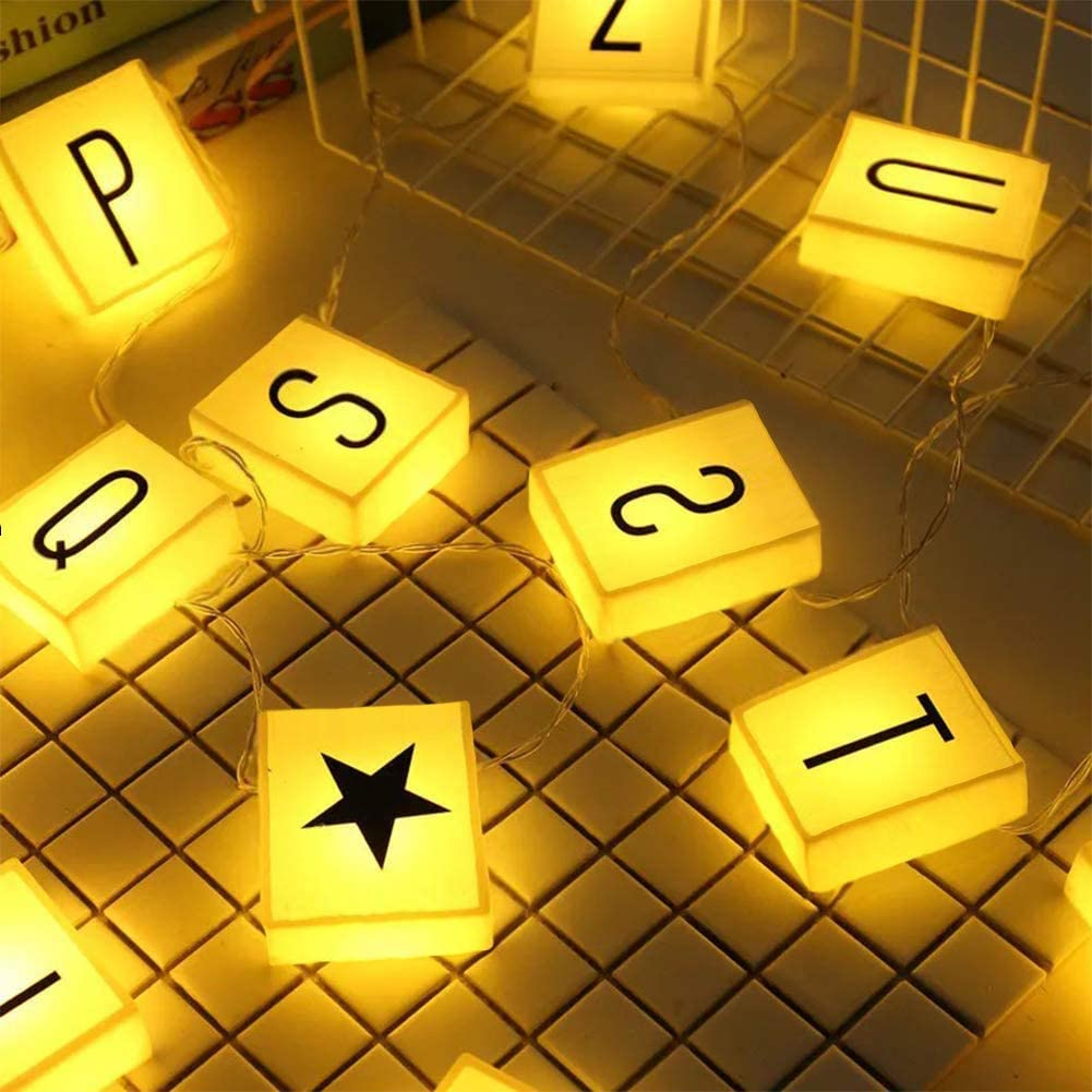 Creation Core 20 Led Letter Light Box String with 60 Letters, Numbers & Symbols Free Combination DIY Letter Banner for Home Decor Photoshoots Birthday Party, Warm White