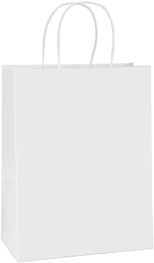 BagDream Paper Bags 10x5x13 25Pcs White Kraft Paper Gift Bags, Shopping Bags, Merchandise Bags, Retail Bags, Party Bags, Gift Bags with Handles Bulk, 100% Recyclable Paper Bags