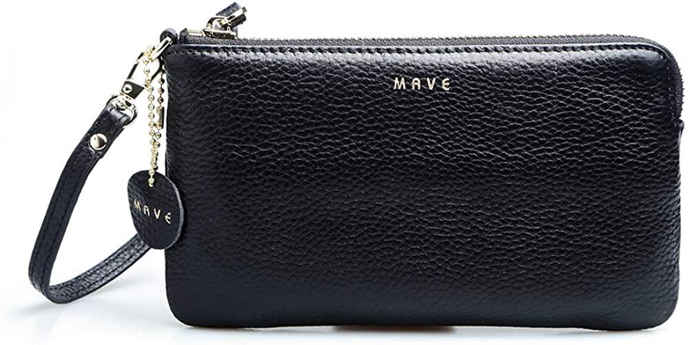 Women's Genuine Leather Wristlet Clutch Wallet, Smartphone Wristlet Purse Wristlet Wallet