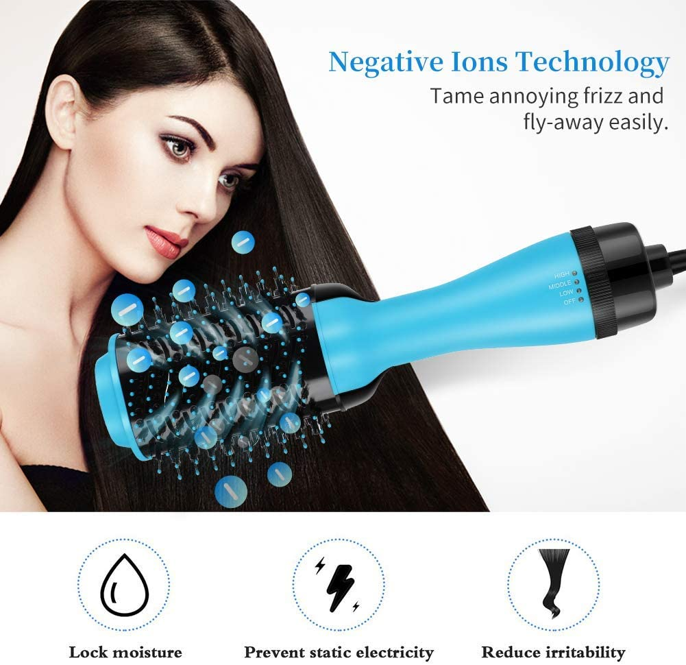 BIXINYAAN 4 in 1 Peine hot air, Smoothing Brush and Comb Negative ions Curly Hair, Hair Dryer Oval Multifunction Comb Abundance to Reduce Dryness and Static