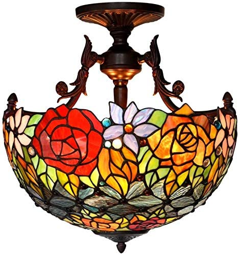 DIMPLEYA Tiffany 16 Inch Twotone Rose Stained Glass Ceiling Lamp Living Room Lig Corridor