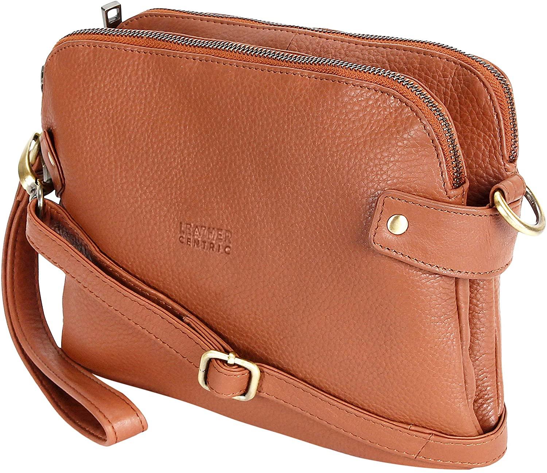 Genuine Leather Wristlet Clutch Wallet |Girls Crossbody Bag|Women Dual Zipper Leather Purse With Wrist Strap (10 inch, Brown)