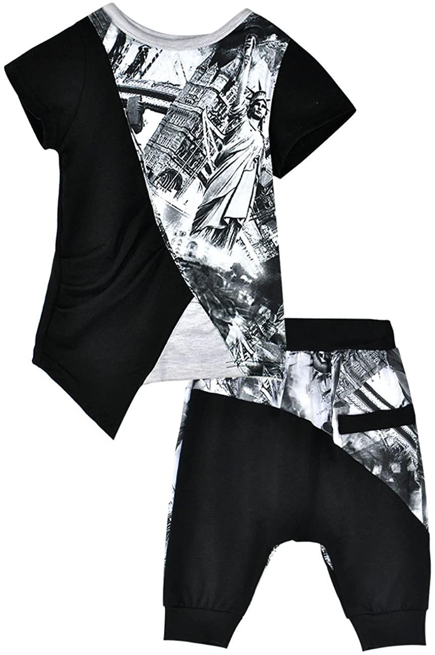 FEDPOP Baby Boys Pajamas 100% Cotton Kids Pjs Sleepwear 2 Pcs Long Sleeve Tractor Top and Pant Set Toddler 2-7t