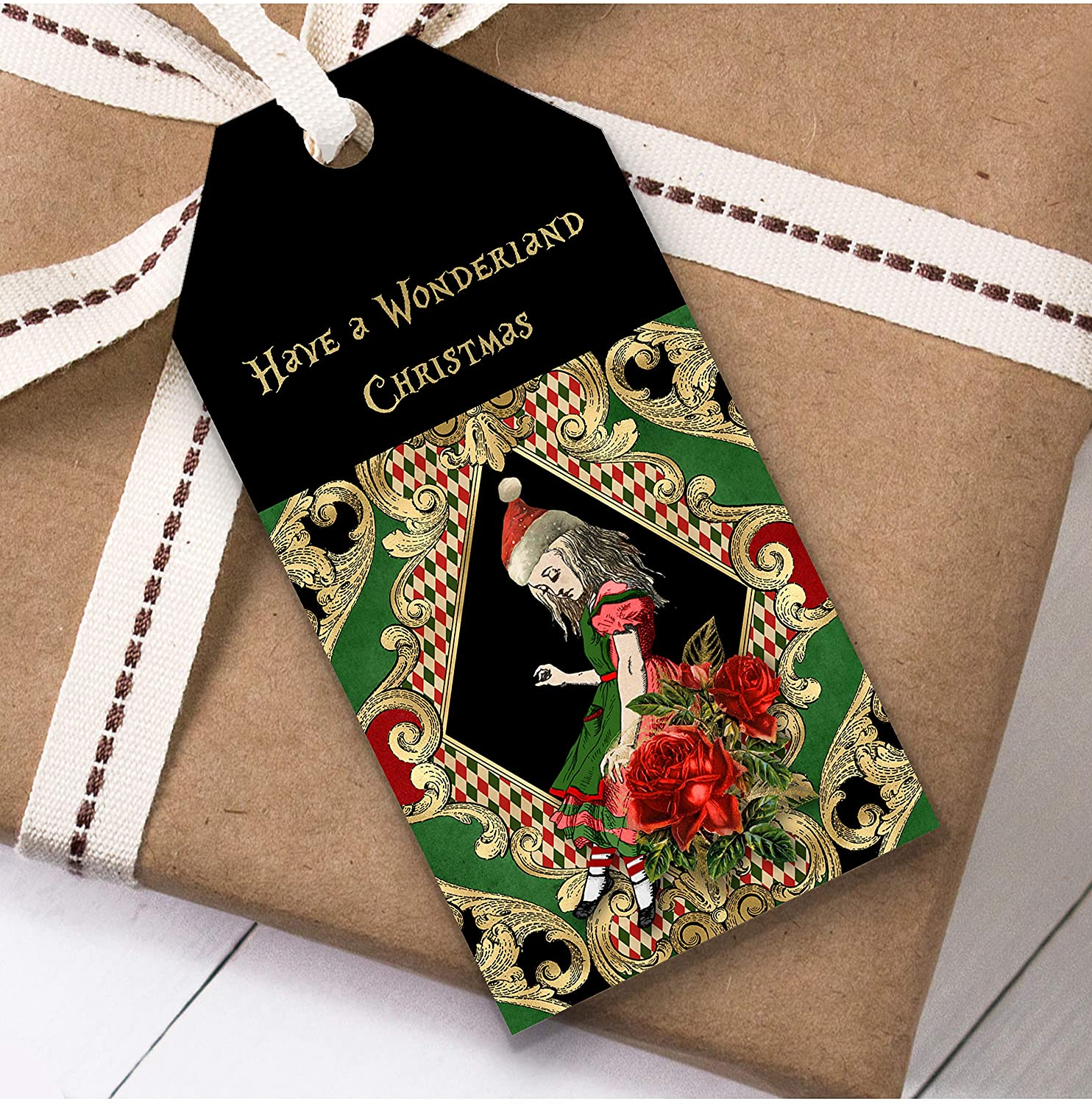Alice in Wonderland Black Gold Alice Christmas Gift Tags (Present Favor Labels)