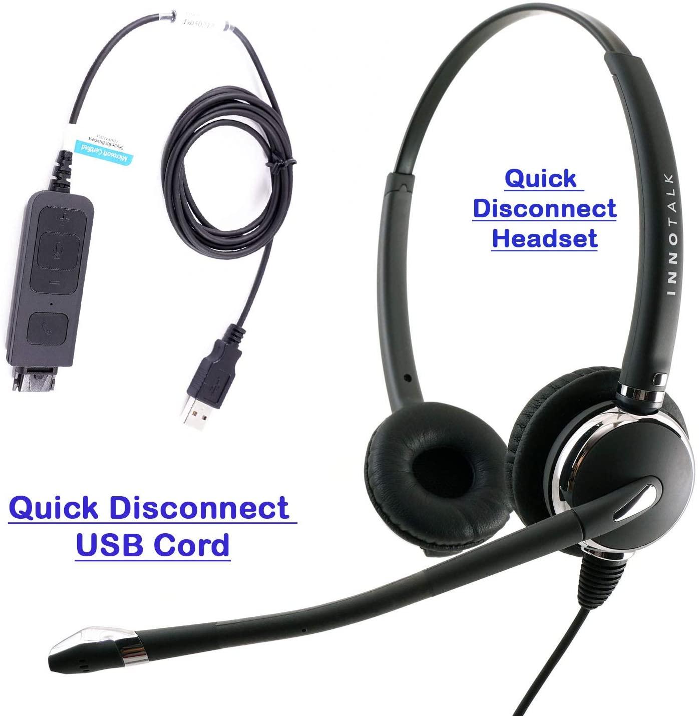 Noise Cancel Mic USB Headset for MS Lync, Skype, Cisco Jabber, Avaya One-X Agent. Built in Plug N Play USB Technology Compatible with Plantronics QD