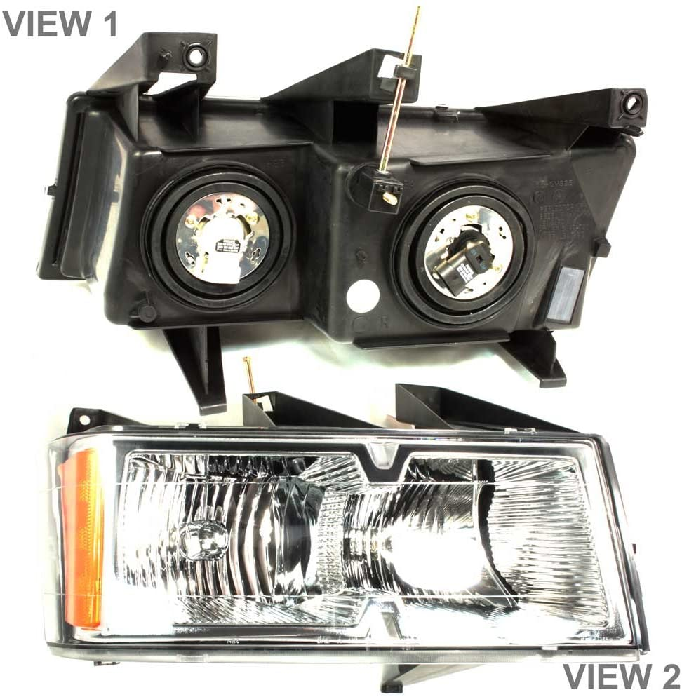 APDTY 10365774 Headlight Headlamp Assembly Fits Right (Passenger Side) 2004-2008 Chevrolet Colorado Extreme (Chrome Bezel Trim; Replaces GM 15911832)