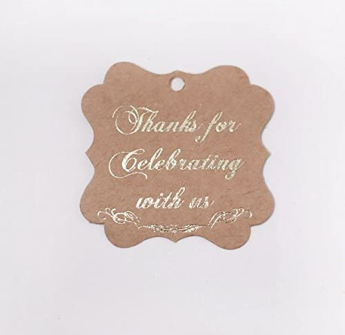 Fancy Frame Gift Tags, Thank You Tags Gold Real Foil, Kraft, 40 - Pack, Thanks for Celebrating with Us (Frame Kraft3)
