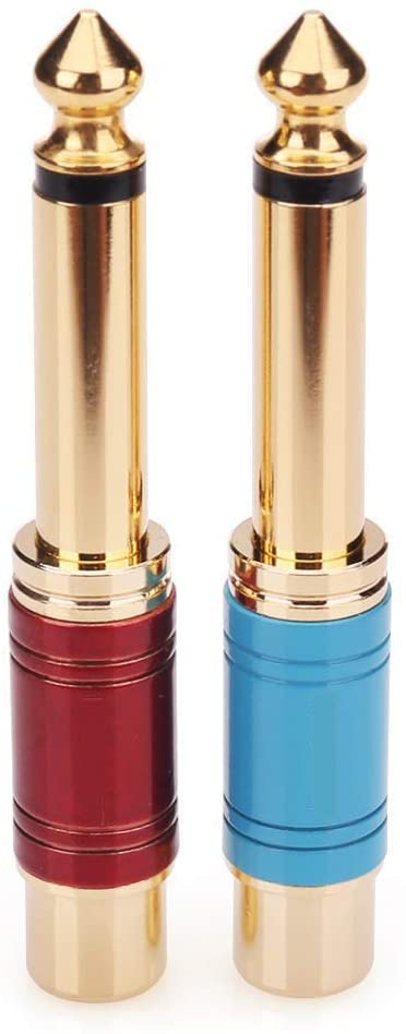 RCA to 1/4 Adapter,Qaoquda 2 Pack RCA Stereo Jack to 6.35mm Mono Plug TS Audio Adapter 1/4 inch Male to RCA Female Phono Pure Copper Color Paint Adapter Coupler Connector (Red+Blue)