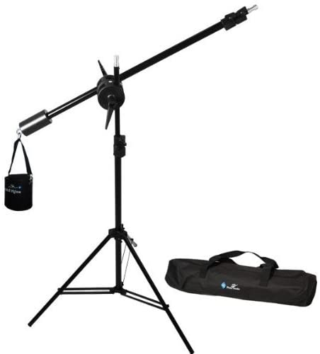 LimoStudio Photo Studio Overhead Boom Light Stand Kit with Counter Weight Sand Bag, Carry Case, AGG1747