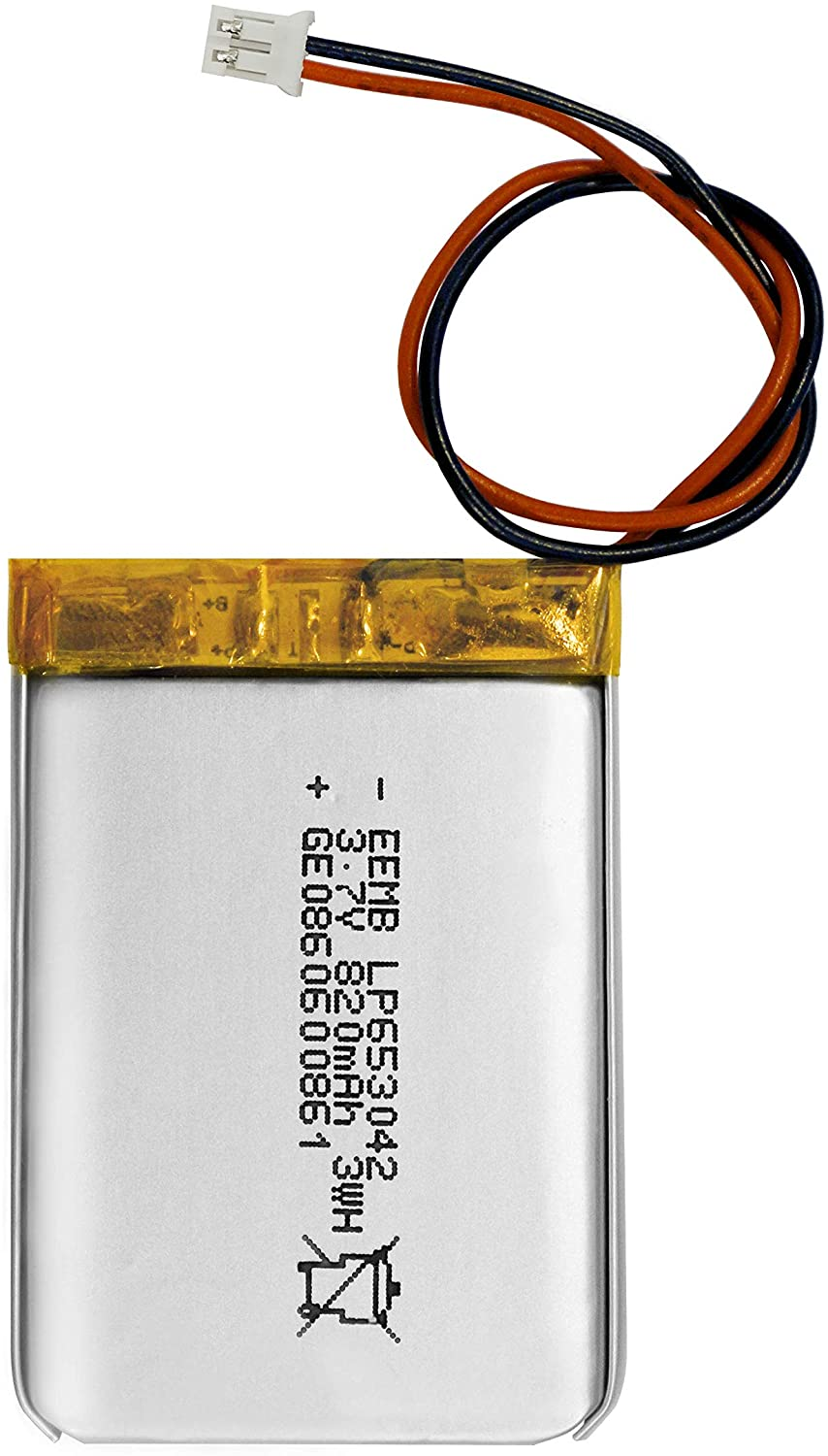 EEMB 3.7V 820mAh 653042 Lipo Battery Rechargeable Lithium Polymer ion Battery PCS with JST Connector UN38.3 (UL Certified for Cell)