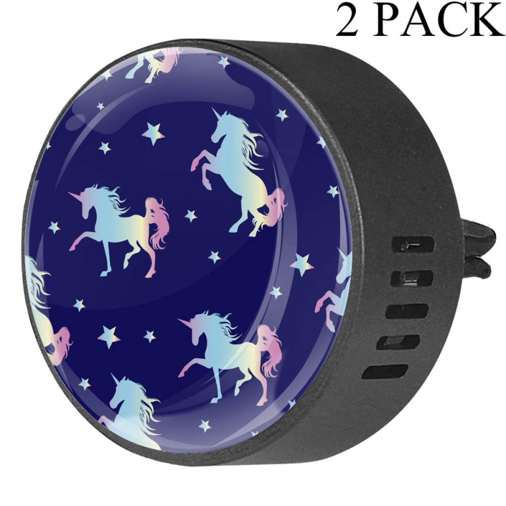 Magic Unicorn Silhouette With Star Car Diffuser Vent Clip Healthy Certification EVA Car Air Freshener 2 Pack, Frangipani