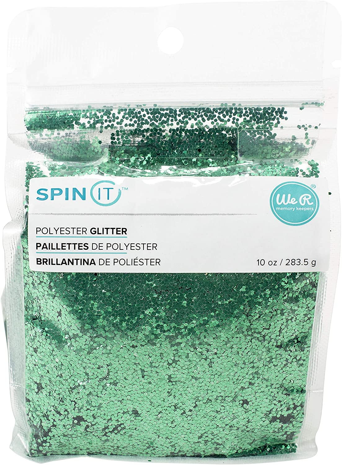 We R Memory Keepers 660606 0633356606062 Glitter Spin It-10 Ounce-Chunky-Green