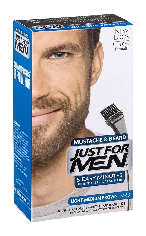 Just For Men Mustache & Beard Brush-In Color Gel Application Kit Light-Medium Brown M-30 (Pack of 6)