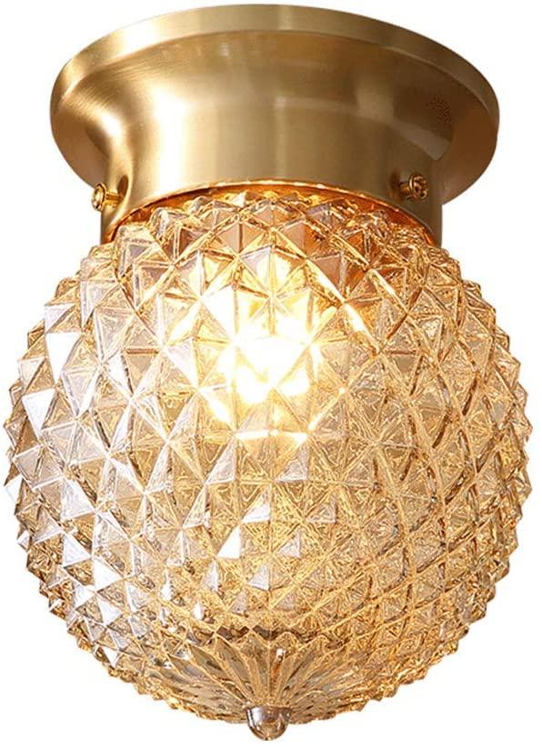Berlato Transparent Mini Glass Globe Ceiling Light,E26, Semi Flush Mount Modern Brass Ball Pineapple Ceiling lamp for Dining Room Entrance Corridor (A-15x15cm)