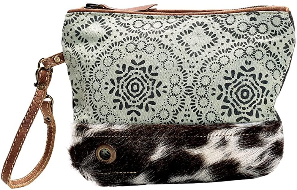 Myra Bag Floral Upcycled Canvas & Cowhide Wristlet Bag S-1143