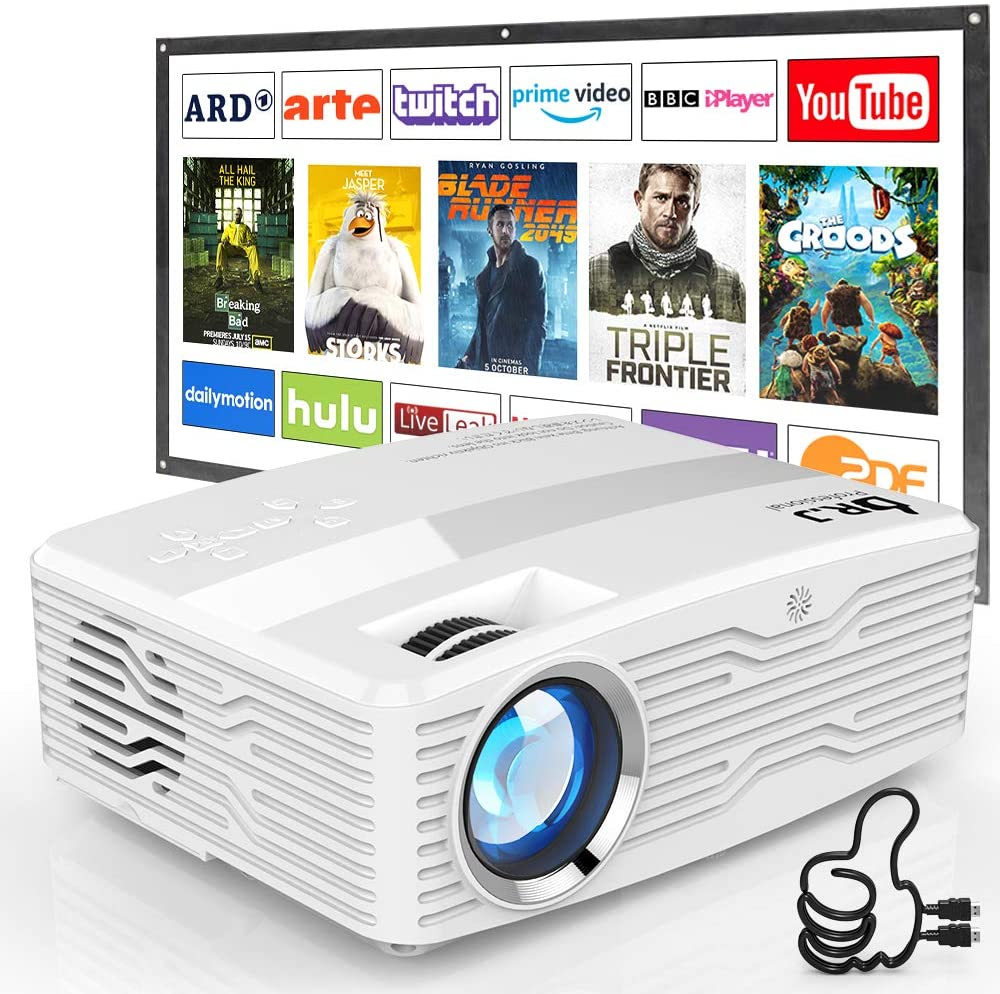[Native 1080P Projector] DR. J Professional 6800Lumens LCD Projector Full HD Projector Max 300 Display, Compatible with TV Stick, HDMI, AV, VGA, PS4, Smartphone for Home Theater, Presentations