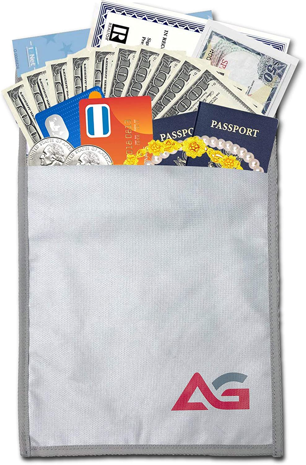 AG Document Bag 15 x 11 Fire and Water Resistant Money Bag Fireproof Safe Storage for Money, Documents, Jewelry and Passport