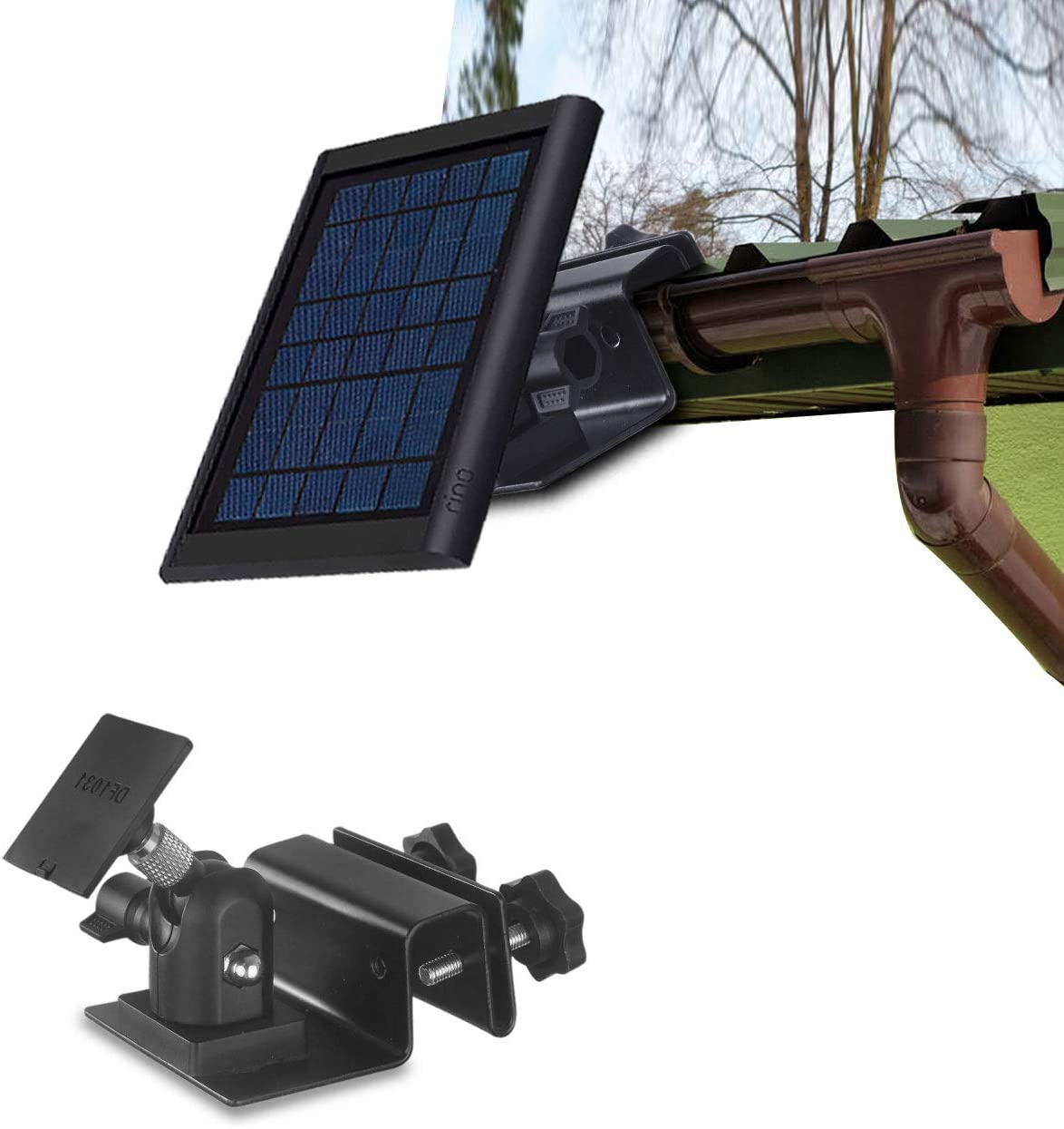 HOLACA Weatherproof Gutter Mount for Ring Solar Panel- Wall Mount Bracket Outdoor Mount Accessories for Ring Solar Panel (Black)