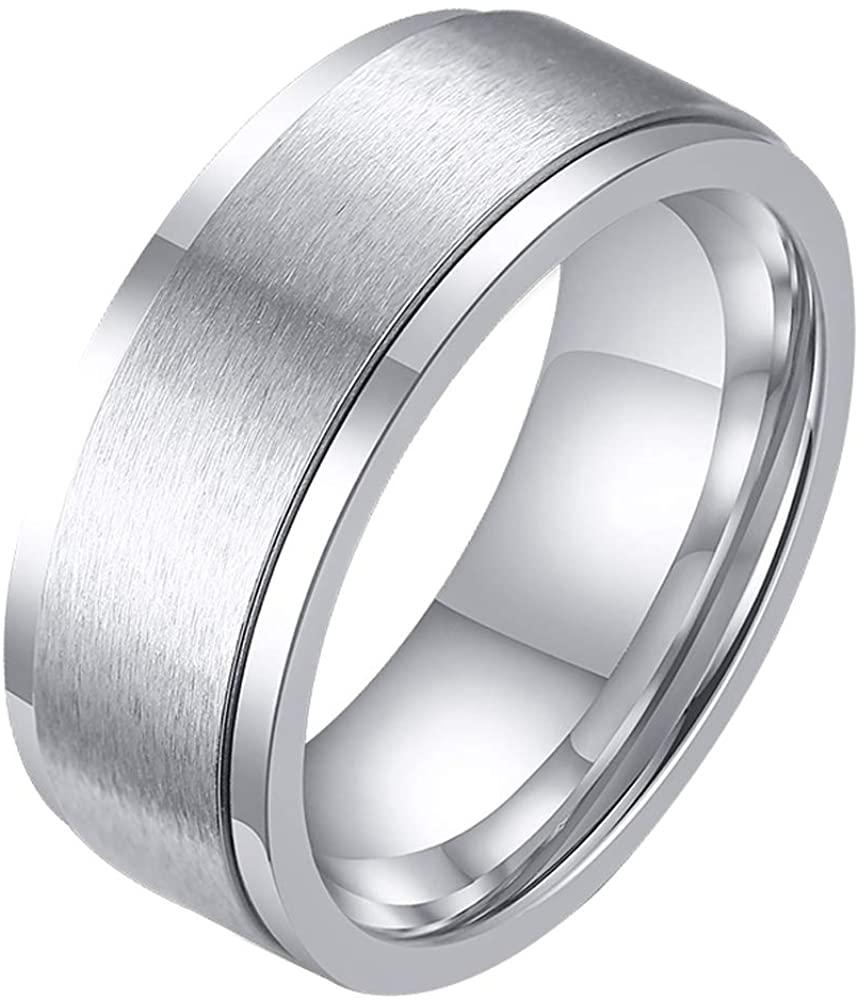 POVANDER 8mm Men's Stainless Steel Spinner Ring Central Black Ion Brushed Finished Wedding Band Fidget Ring