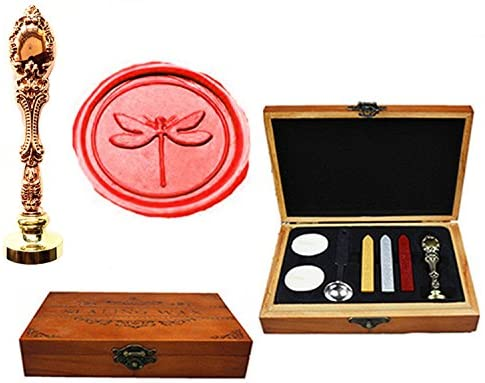MNYR Dragonfly Luxury Wood Box Red Brass Metal Peacock Wedding Invitations Gift Cards Paper Stationary Envelope Seals Custom Logo Wax Seal Sealing Stamp Wax Sticks Melting Spoon Wood Gift Box Kit