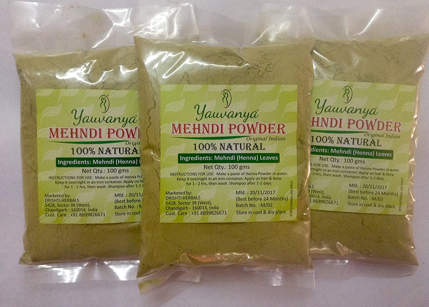 Yauvanya Original Indian Pure and Natural Henna (Mehndi) for Hair - 300 gms (3 Packets of 100 gms each)