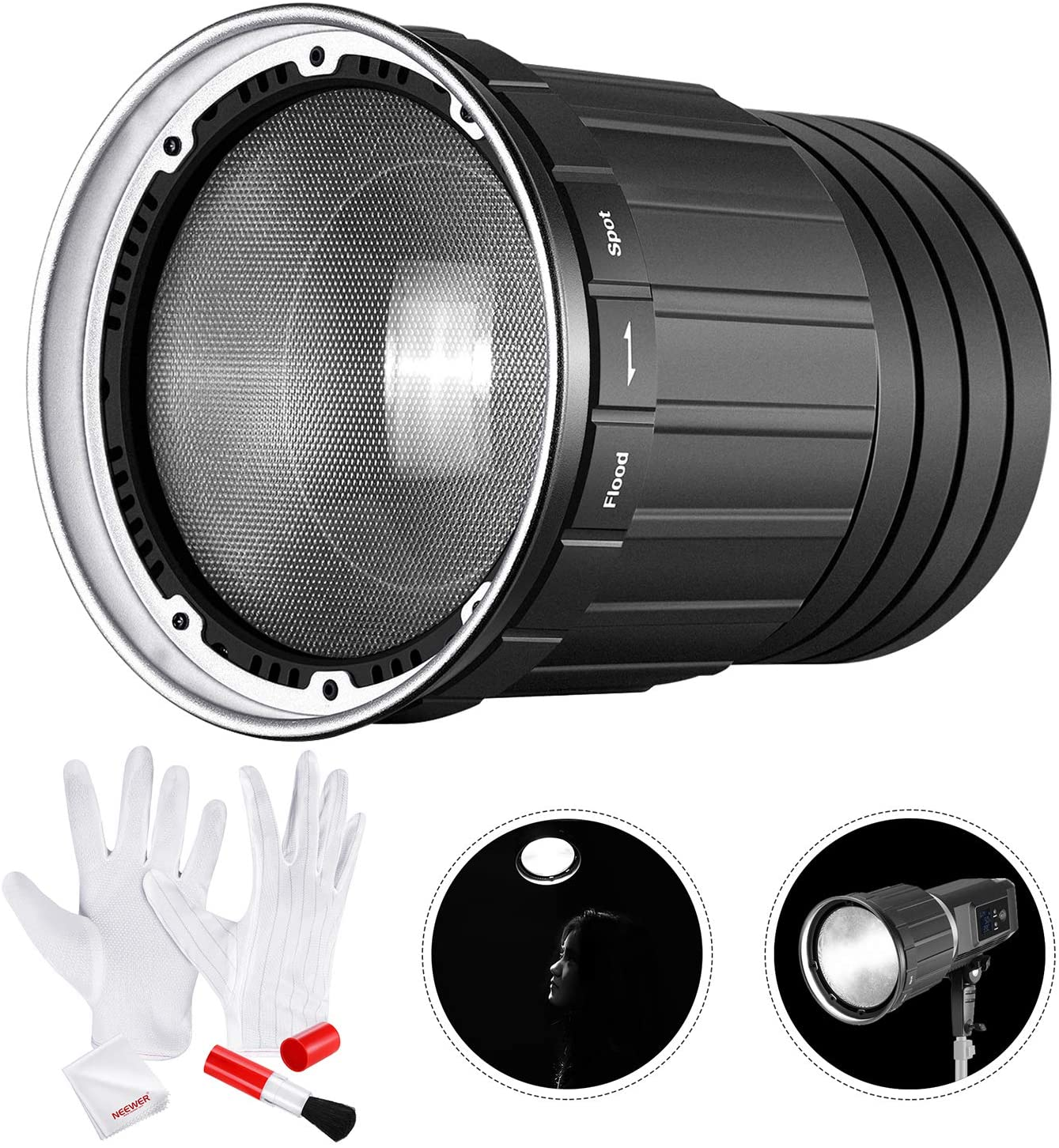 Neewer Fresnel 2X Lens Mount with Camera Cleaning Kit Compatible with Neewer SL60W SLB60W SL-150W SL-200W Led Light and Other Bowens Mount Continuous Lights